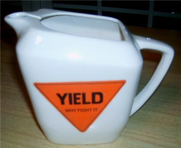 FAB MoD Mid Century Ceramic YIELD Road Sign PITCHER!!