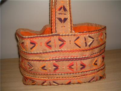 Primary image for Groovy Retro MoD Burlap Orange & Yellow 1960's Tote Bag • Orange Lining