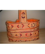 Groovy Retro MoD Burlap Orange & Yellow 1960's Tote Bag • Orange Lining - $16.00