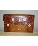 Groovy Retro MoD Leather & Suede Hand Stamped Flower & Starburst Wallet - $12.00