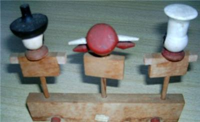Vintage Wooden CHEF & BULL BBQ MEAT MARKERS w/ STAND!