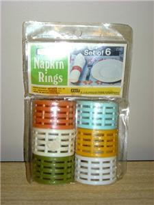 Vintage NEVCO NEW/OLD STOCK Colorful NAPKIN RINGS MIP!!