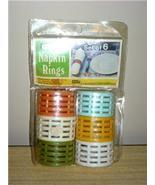 Funky MoD Vintage NEVCO 6pc NEW/OLD STOCK Colorful Basketweave NAPKIN RI... - $12.00