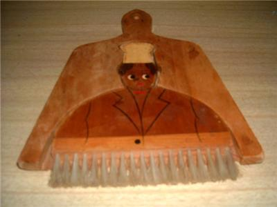 Primary image for Darling Vintage Wooden JOLLY CHEF Broom & Dustpan Set!! Awesome Graphics!