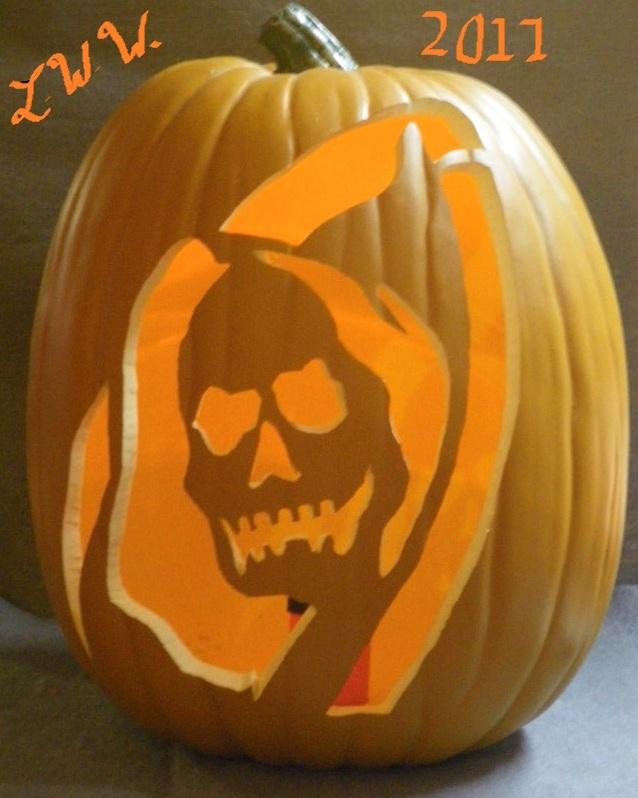 Large Hand-carved Grim Reaper Halloween Foam Jack-o-lantern