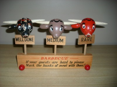 50's HUGE Figural STEER HEAD BBQ Barbecue MEAT MARKERS!