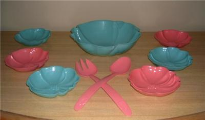 LoVely 50's PINK & AQUA 9pc HOFMANN SALAD/SERVE SET WoW