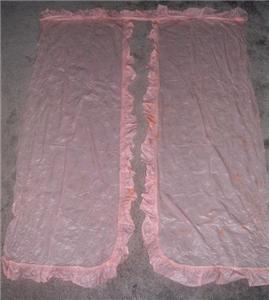 Amazing Vintage PINK ATOMIC STARBURST Ruffle Edge PLASTIC Curtains! Fabulous! - $26.00