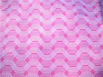 Primary image for Darling Vintage Textured MODERN Cotton Candy PINK & WHITE 70 x 51 Zig Zag Fabric