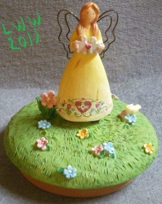 Yellow Russ Garden Heart Fairy Angel Jar Candle Topper