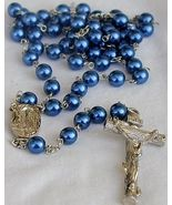 Blue navy pearls Rosary - $34.00