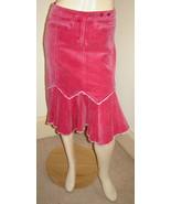 Anthropologie LOUIE Pink Stretch Cotton Corduroy Asymmetrical Western Sk... - $24.40