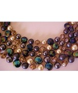 Beautiful Iridescent 1950s Bead & Pearl Necklac... - $16.50