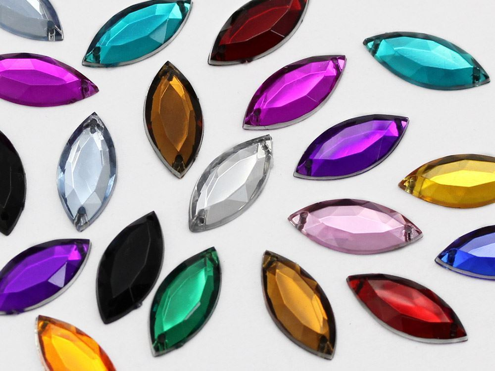 20x9mm Crystal Clear CH38 Navette Flat Back Sew On Gems For Craft 50 PCS