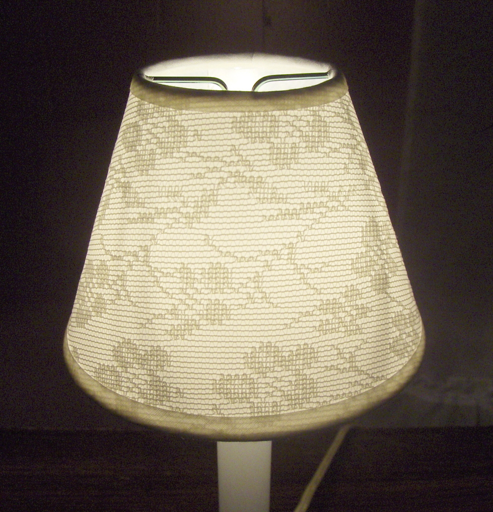 OFF-WHITE LACE OVERLAY Mini Chandelier Lamp Shade