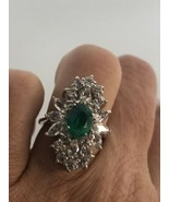 Vintage Green Fluorite Deco Ring 925 Sterling Silver Size 5.25 - $183.15