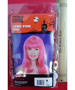 Fashion Holiday Head Accessory OSFM Long Pink Wig Halloween Costume Prop... - $6.64