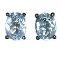 Oval Shape Blue Topaz Gemstone 925 Sterling Silver Antique Stud Earring - $11.35