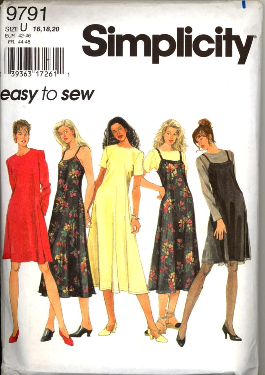 Primary image for Uncut Size 16 18 20 Easy to Sew Slip Dress Simplicity 9791 Pattern