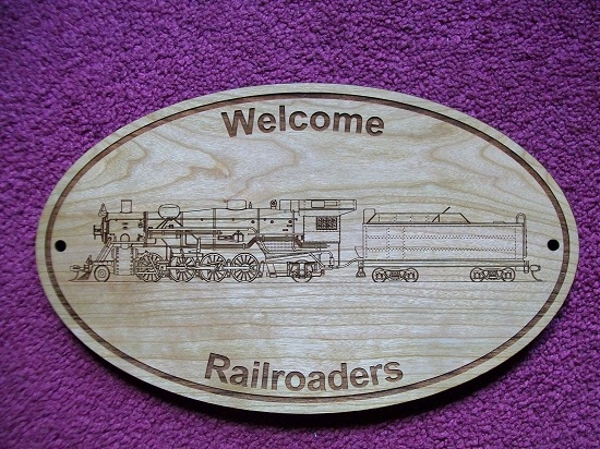 WELCOME RAILROADERS WOODEN SIGN for MODEL RAILROAD FANS