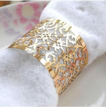 50pcs Wedding Favors Laser Cut Towel Wrappers,Metallic Paper Gold Napkin Rings - $17.00