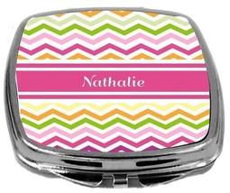 Rikki Knight Personalized Name Nathalie Compact Mirror Pink Chevron Stripes NEW - $12.00