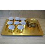 Ceramic Qty 8 Cups & Saucers With Plastic Tray Gold Color Omnibus Mfg Japan - $29.95