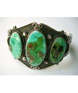 Vintage Navajo Bracelet Green Turquoise Top Qua... - $575.00