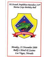 234TH Marine Corps Birthday Ball 2009 Souvenir Program - $2.95