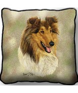 """17"""" Large ROUGH COLLIE Dog Pillow Cushion Tapestry - $32.50"""