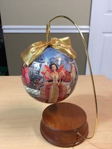 1997 decoupage Barbie Holiday christmas ornament on stand new no Box - $6.79