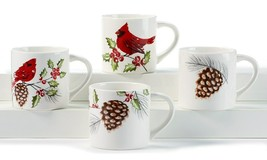 Set of 4 - Ceramic  Mugs - Cardinal & Pinecone Design - 17 oz