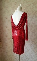 Sexy Wine Red Fitted Long Sleeve Open Back Sequin Dress Short Prom Dress image 3