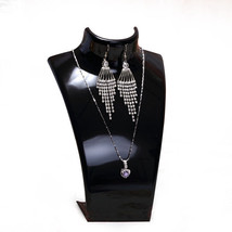 Acrylic Bust Necklace Earrings Display Stand Mannequin Jewelry Holder - $27.18