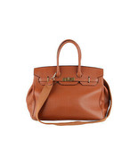 Authentic Stefano Serapian Brown Leather Top Handles Bag Satchel with Strap - $143.55