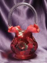 Fenton Gold Treasures Cranberry Basket Art Glass W/ Hand Painted Flowers - $94.05