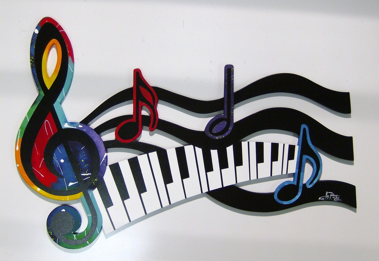 Abstract Music Notes Art: Colorful G Clef Music Note & Piano Keys Abstract Wood Wall