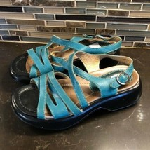 Dansko teal scrappy leather sandals 36 5.5-6 - $54.45