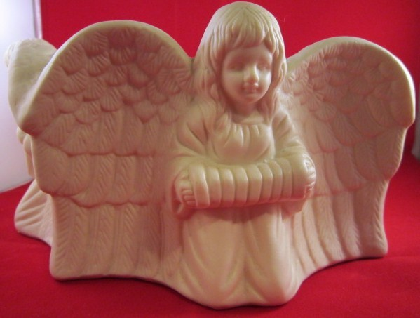 Angel Bisque Candle Stand, Musical Instruments PartyLite Candle Holder