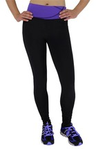 NEW W SPORT WOMEN'S ATHLETIC GYM WORKOUT LONG LEGGING PANTS BLACK/PURPLE 4813
