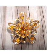 Signed CORO Sunburst Brooch with Brilliant Amber Glass Stone - $12.00