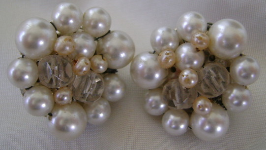 Earrings, Vintage Clip Back, Crystal & White Bead Cluster
