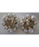 Earrings, Vintage Clip Back, Crystal & White Bead Cluster - $10.00