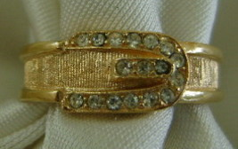 Ring, Avon, Goldtone Buckle with Rhinestones - $10.00