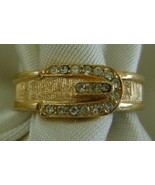 Ring, Avon, Goldtone Buckle with Rhinestones - $10.00
