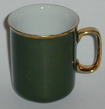 1950 JKW Bavaria Porcelain China Green Gold Trim Cup
