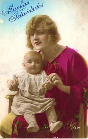 1927 Muchas Felicidades Postcard Woman Baby PC Foreign