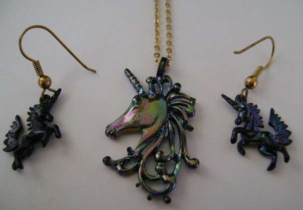Necklace & Earrings, Park Lane, Iridescent Black Unicorn