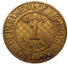 CANADA ONTARIO HIGHWAYS DEPARTMENT CLASS 1 VEHICLE TOKEN  - $9.99