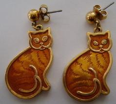 Earrings, Post, Orange Kitty Cat Possibly Avon - $10.00
